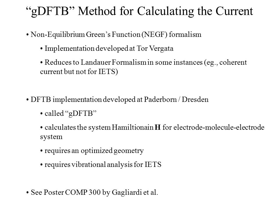 gDFTB Method for Calculating the Current