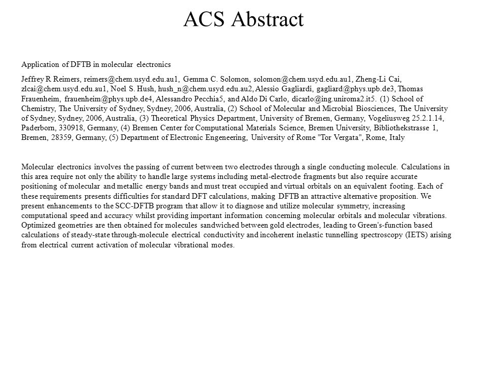 ACS Abstract Application of DFTB in molecular electronics