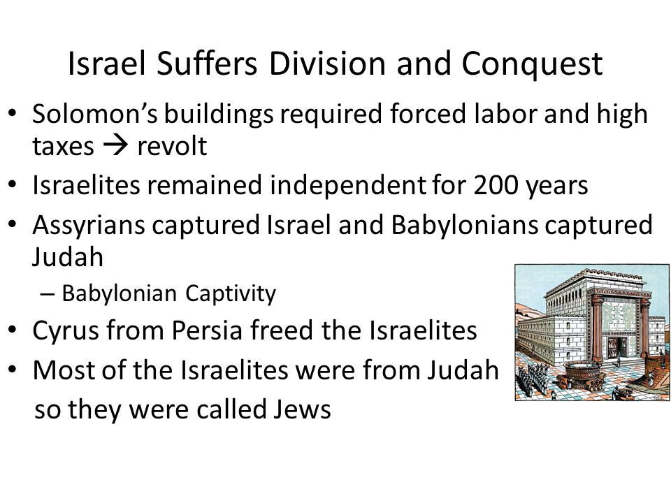 Israel Suffers Division and Conquest