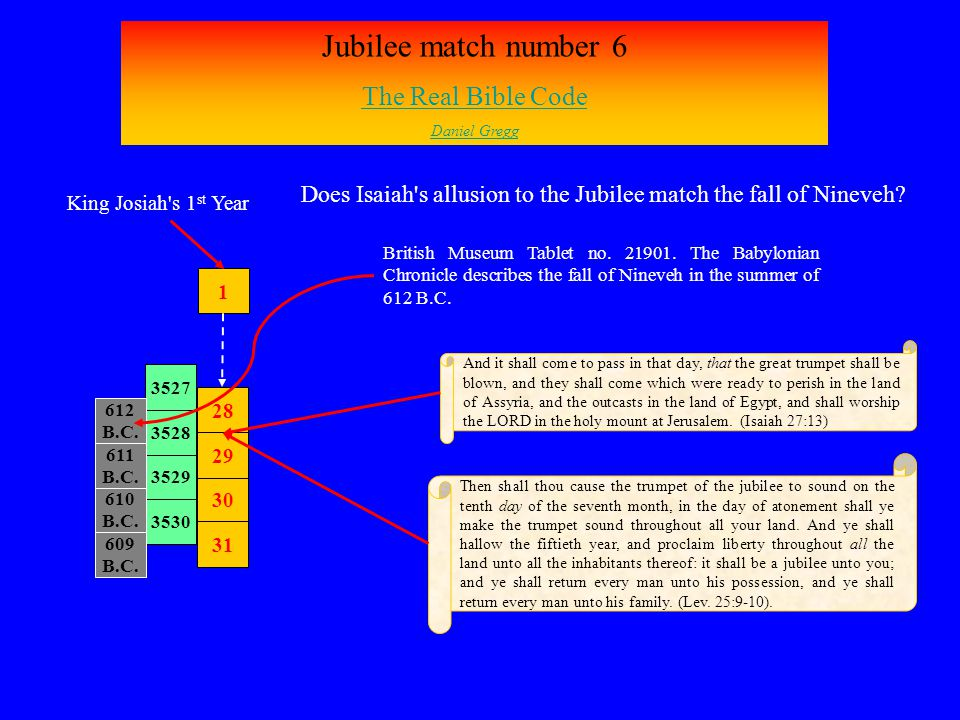 Jubilee match number 6 The Real Bible Code