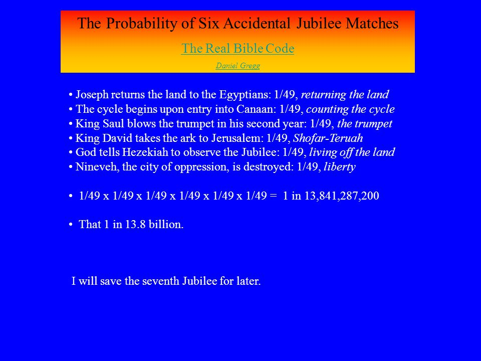 The Probability of Six Accidental Jubilee Matches