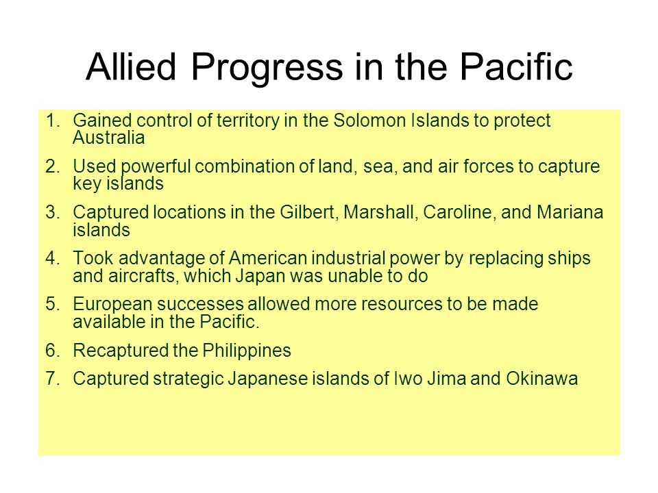 Allied Progress in the Pacific