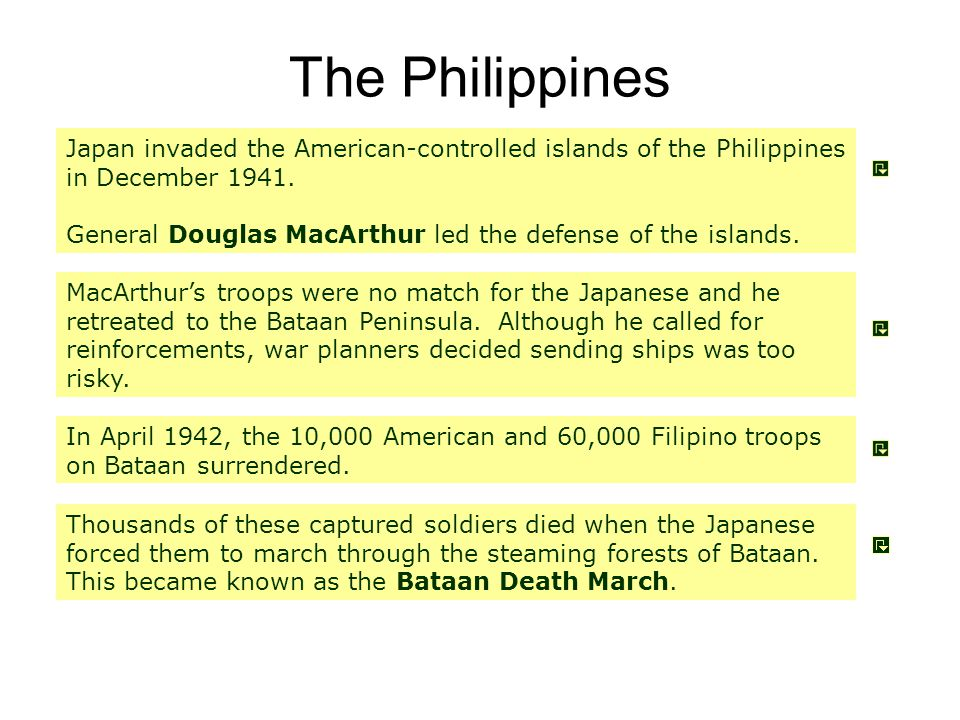 The Philippines Japan invaded the American-controlled islands of the Philippines in December 1941.