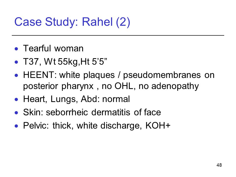 Case Study: Rahel (2) Tearful woman T37, Wt 55kg,Ht 5'5