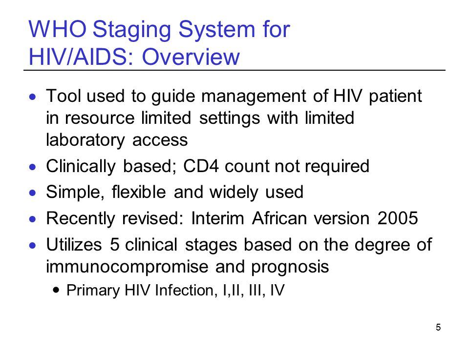 WHO Staging System for HIV/AIDS: Overview