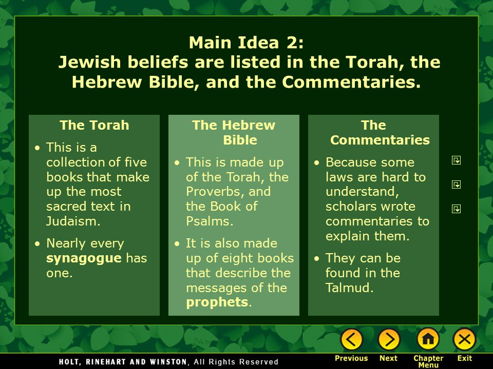 Main Idea 2: Jewish beliefs are listed in the Torah, the Hebrew Bible, and the Commentaries.