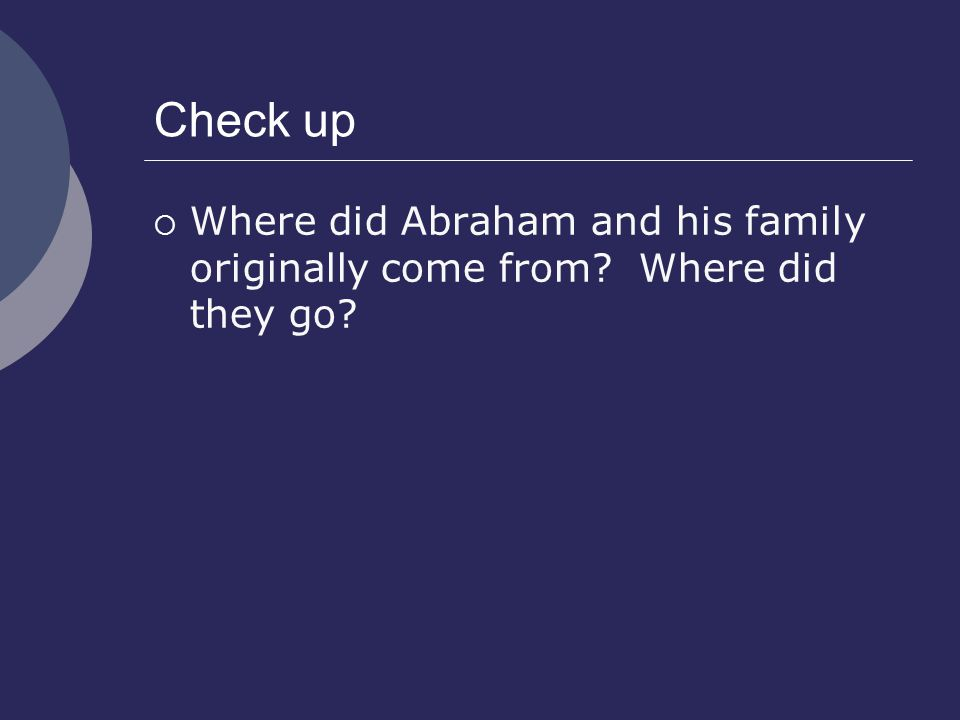 Check up Where did Abraham and his family originally come from Where did they go