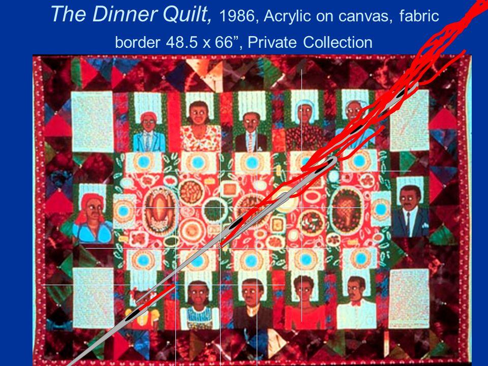 The Dinner Quilt, 1986, Acrylic on canvas, fabric border 48