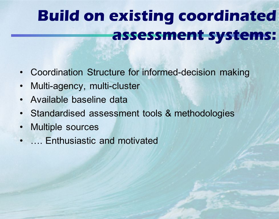 Build on existing coordinated assessment systems: