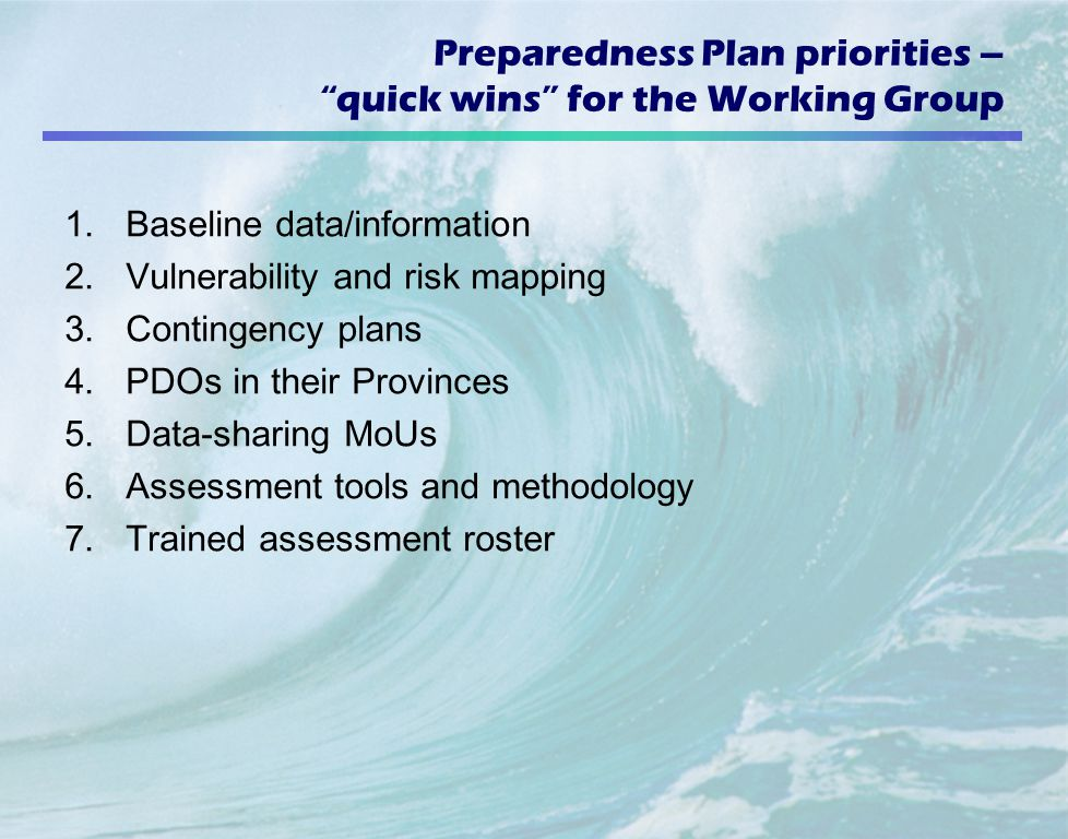 Preparedness Plan priorities – quick wins for the Working Group