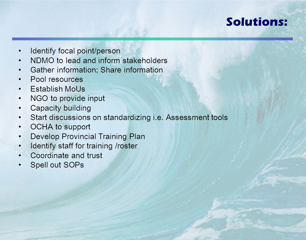 Solutions: Identify focal point/person