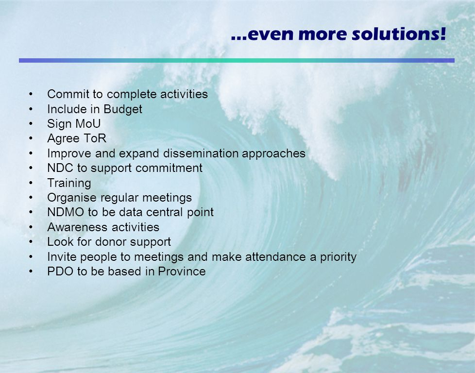 …even more solutions! Commit to complete activities Include in Budget