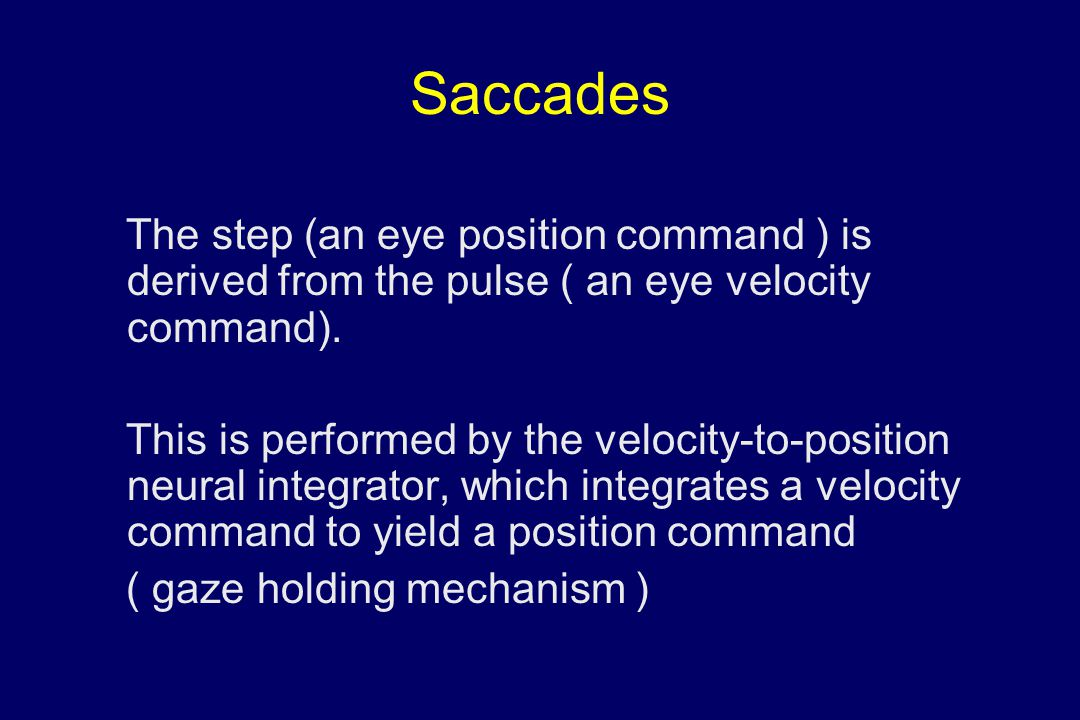 Saccades The step (an eye position command ) is derived from the pulse ( an eye velocity command).