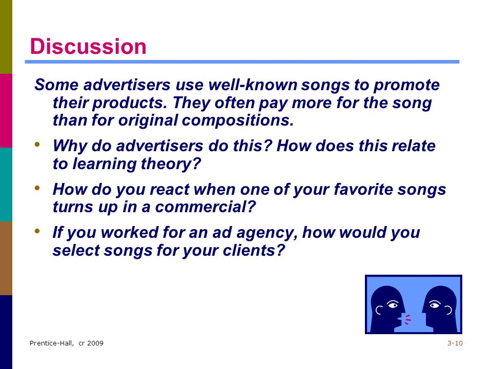 Discussion Some advertisers use well-known songs to promote their products. They often pay more for the song than for original compositions.