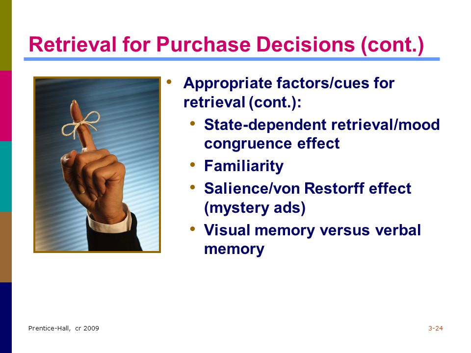 Retrieval for Purchase Decisions (cont.)