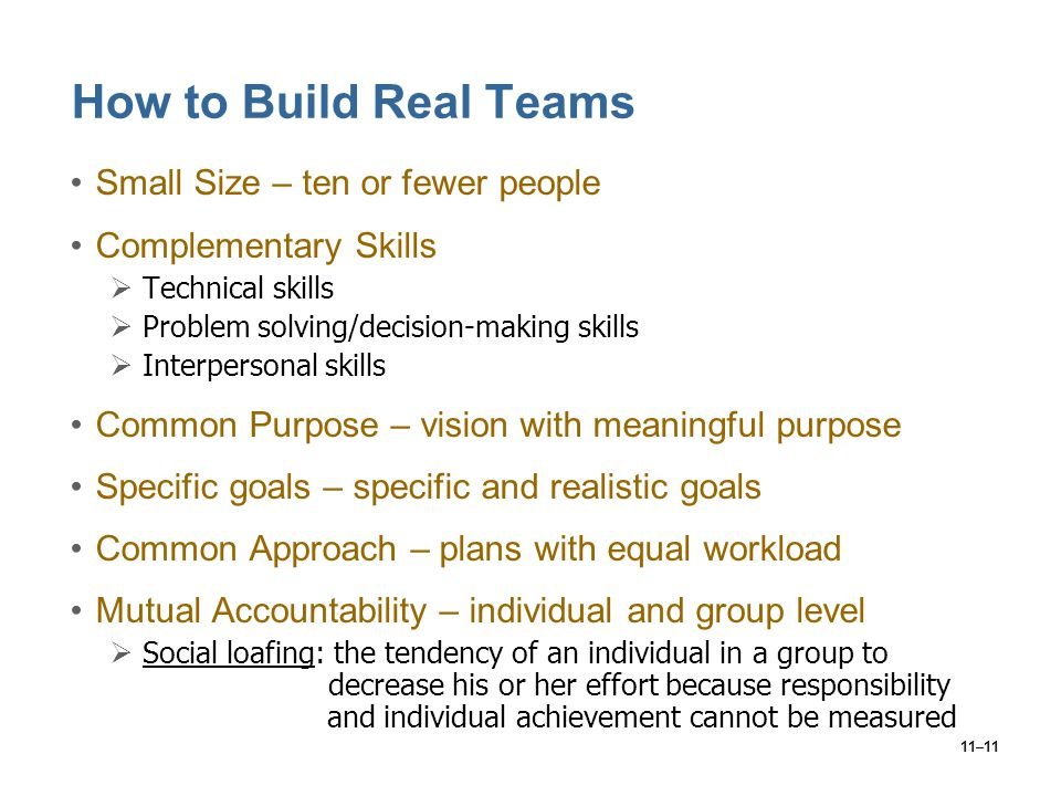 How to Build Real Teams Small Size – ten or fewer people