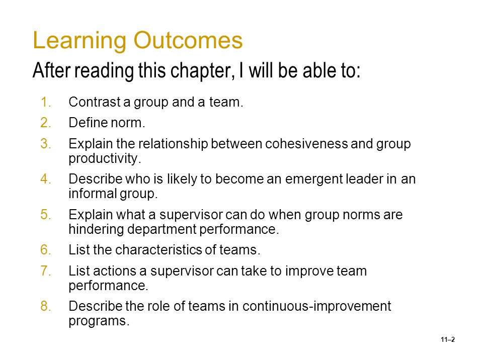 Learning Outcomes After reading this chapter, I will be able to: