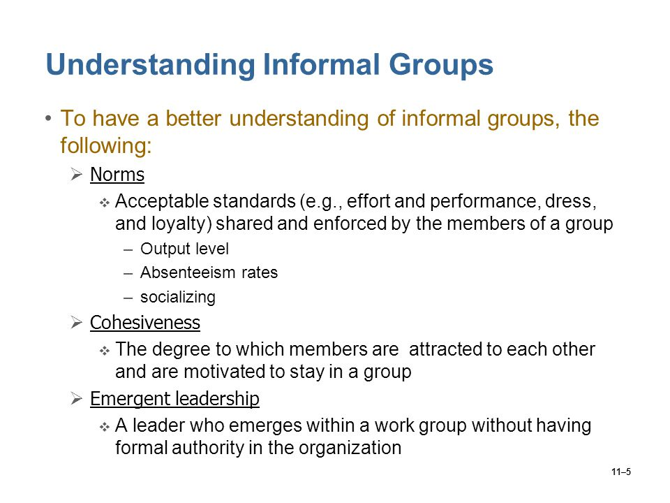 Understanding Informal Groups