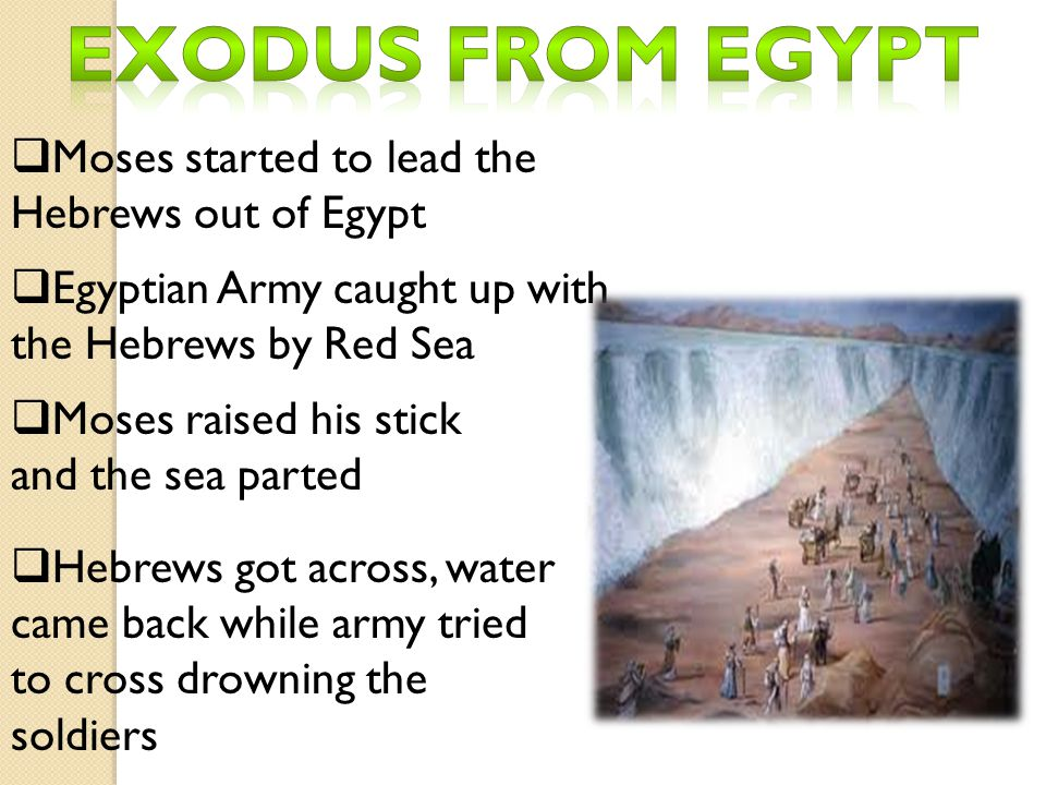 Exodus from Egypt Moses started to lead the Hebrews out of Egypt