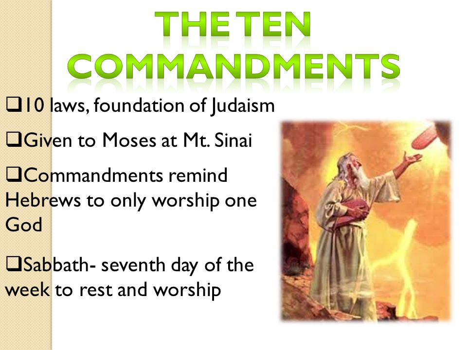 The ten commandments 10 laws, foundation of Judaism