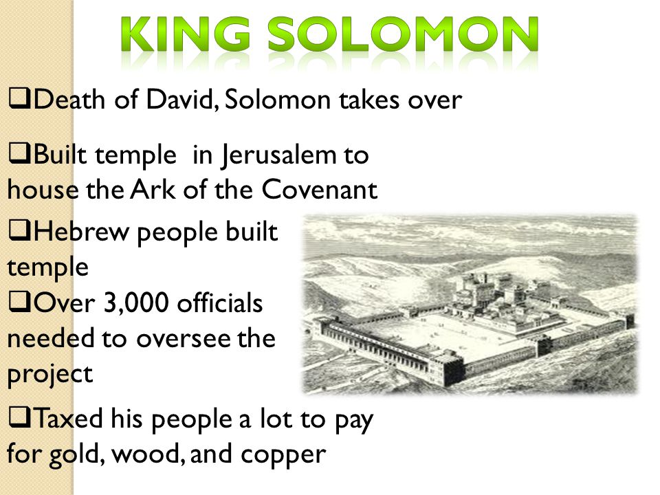 King Solomon Death of David, Solomon takes over