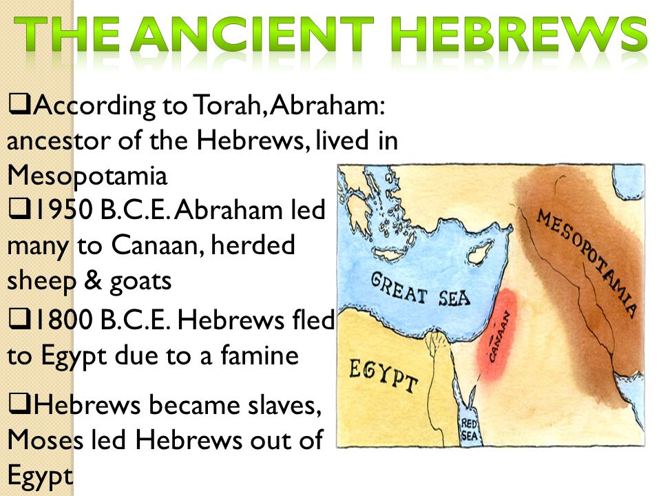 The ancient Hebrews According to Torah, Abraham: ancestor of the Hebrews, lived in Mesopotamia.