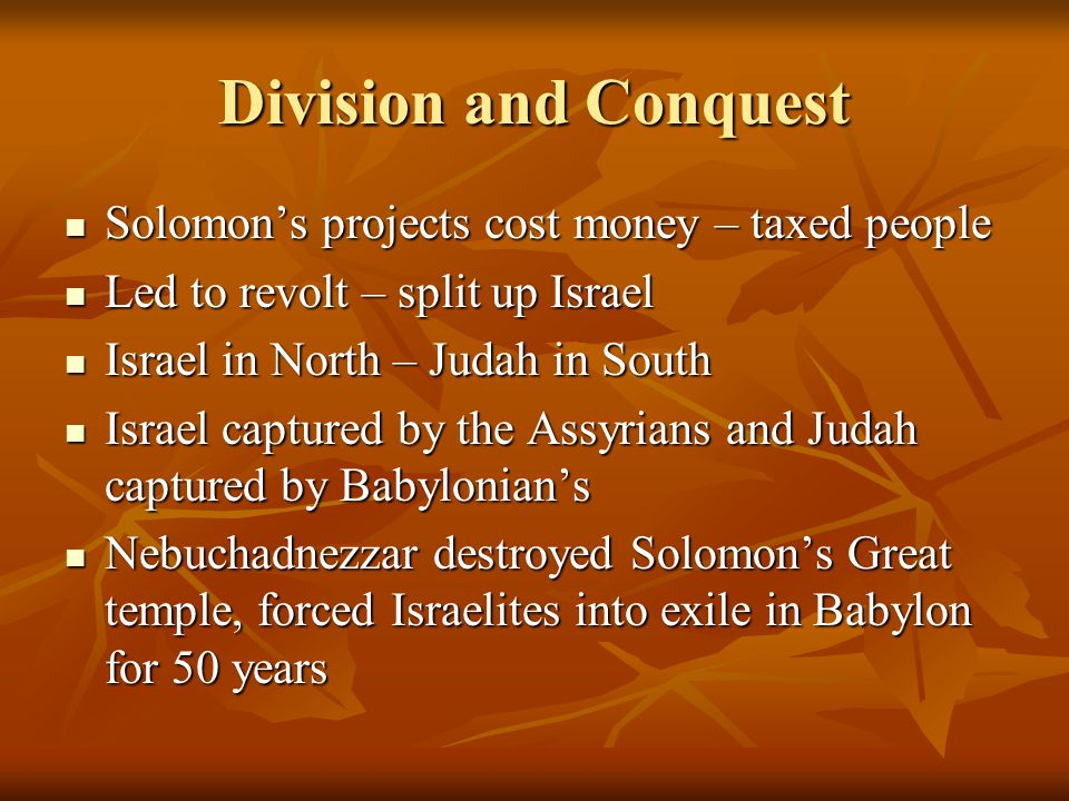 Division and Conquest Solomon's projects cost money – taxed people