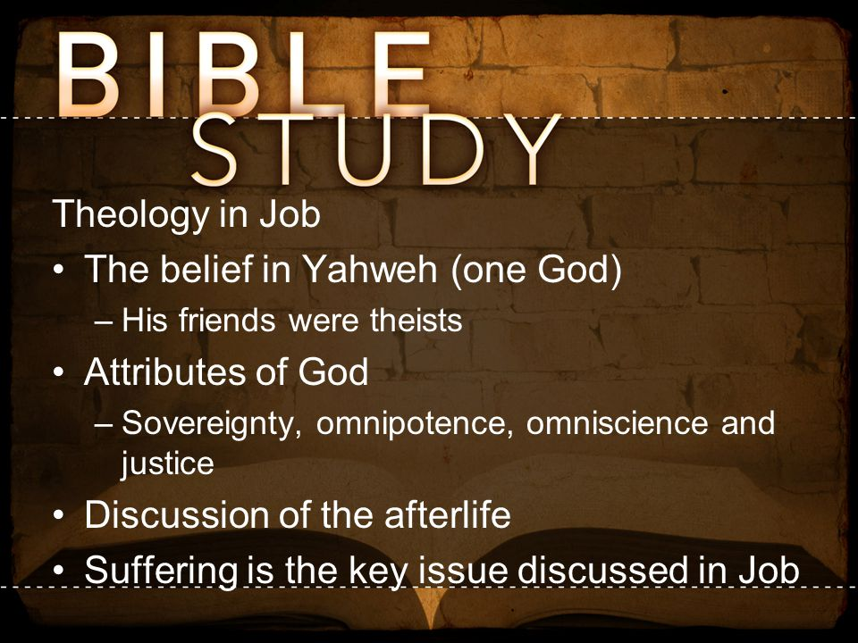 The belief in Yahweh (one God) Attributes of God