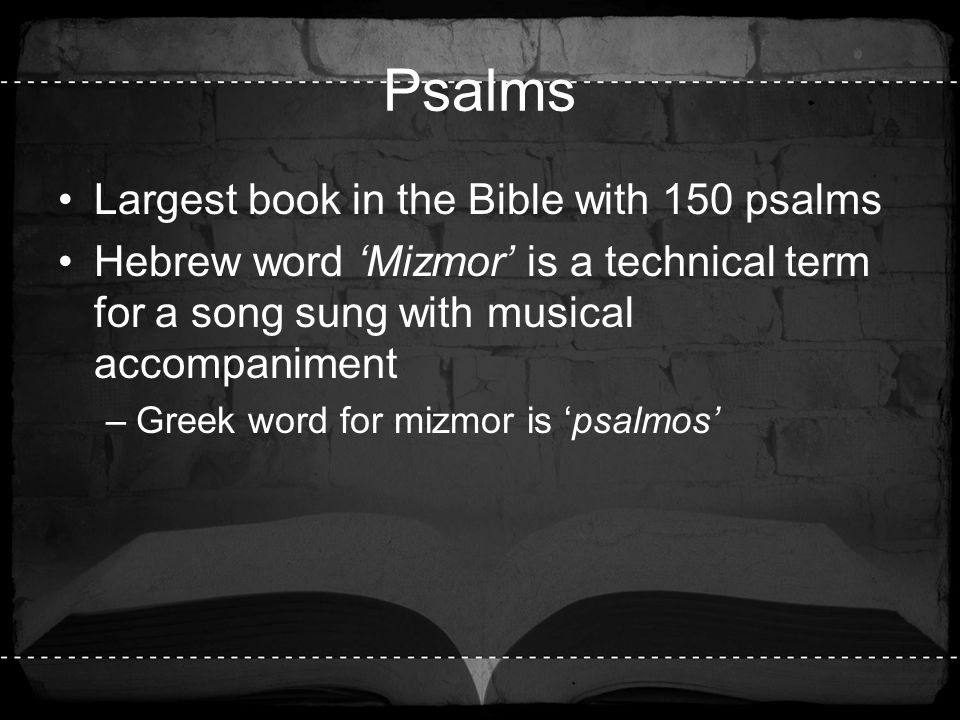 Psalms Largest book in the Bible with 150 psalms