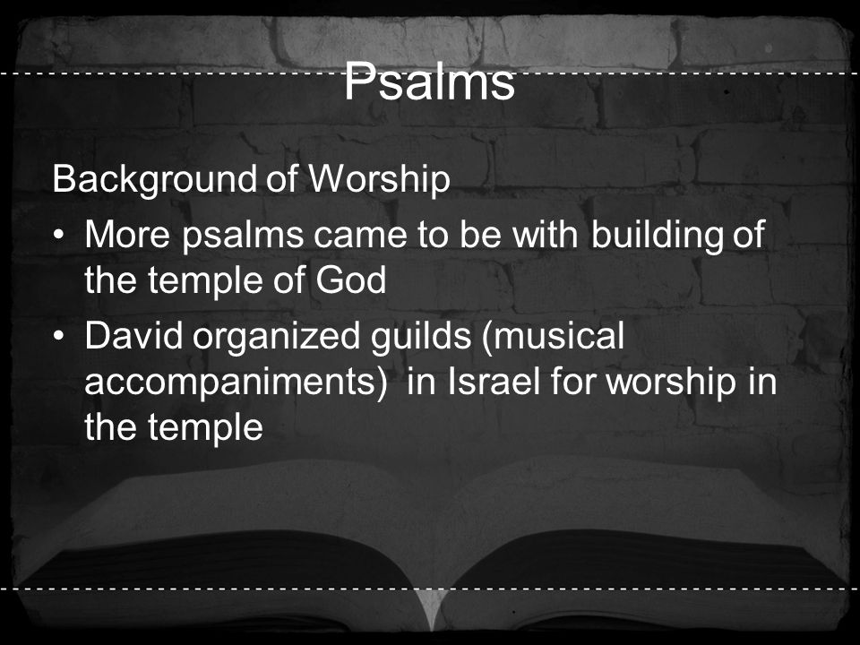 Psalms Background of Worship