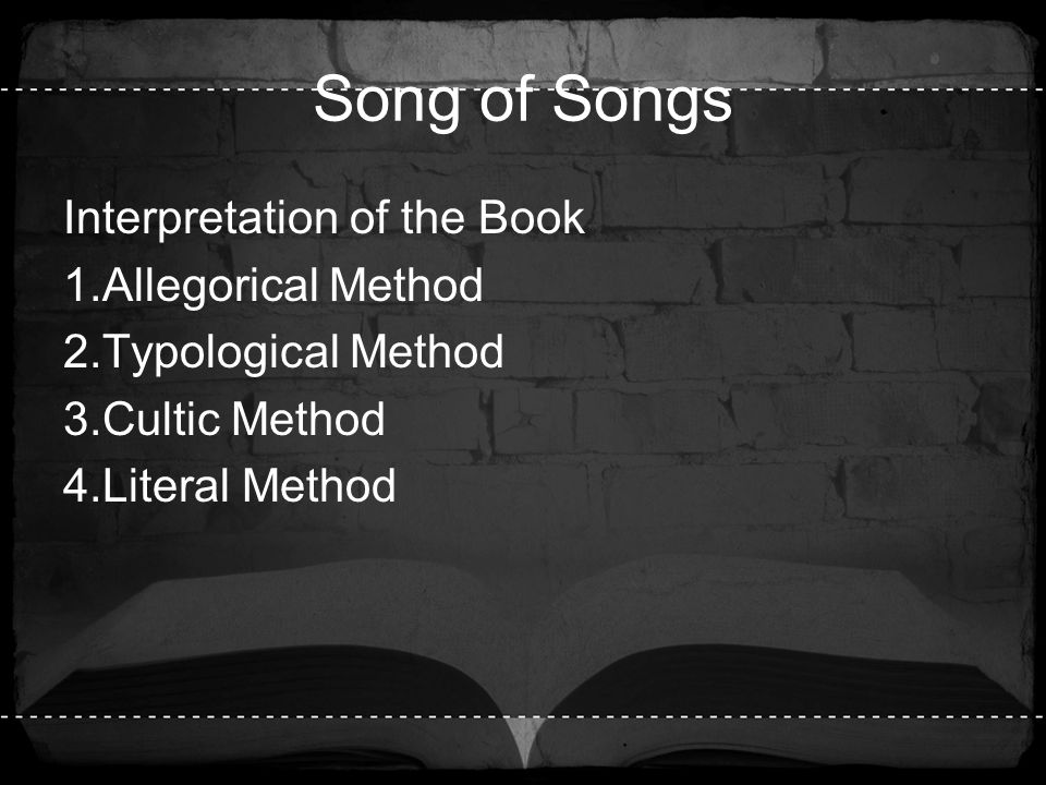 Song of Songs Interpretation of the Book Allegorical Method