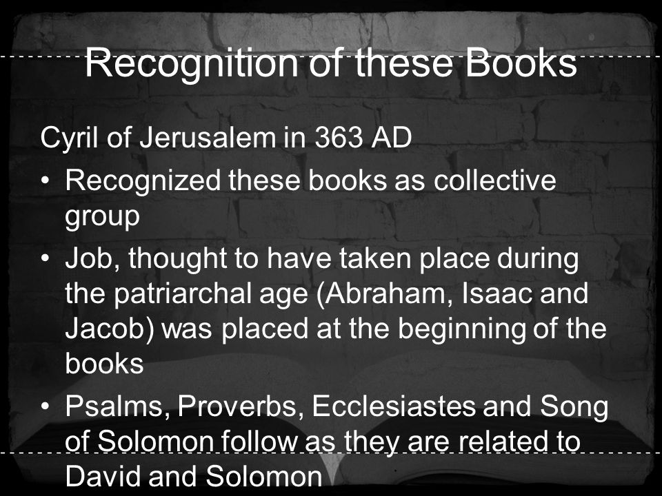 Recognition of these Books