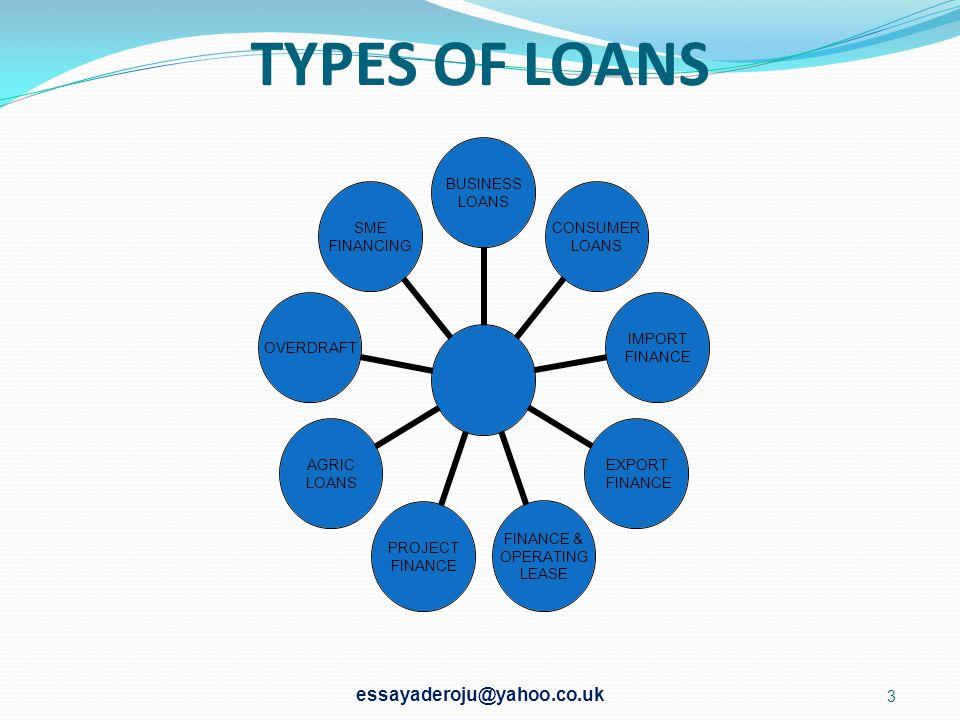 TYPES OF LOANS essayaderoju@yahoo.co.uk
