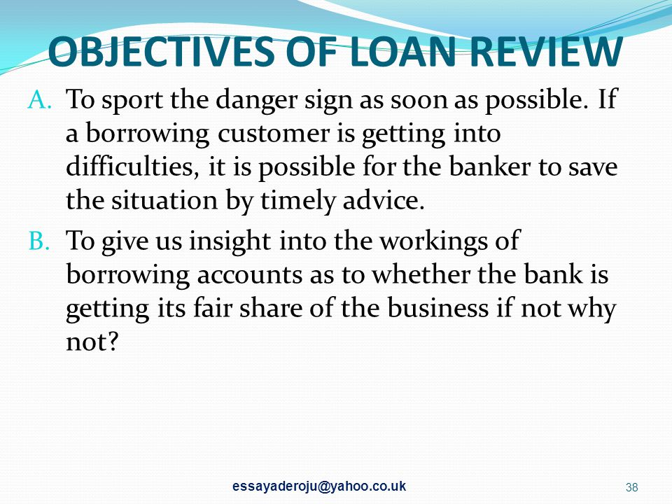 OBJECTIVES OF LOAN REVIEW