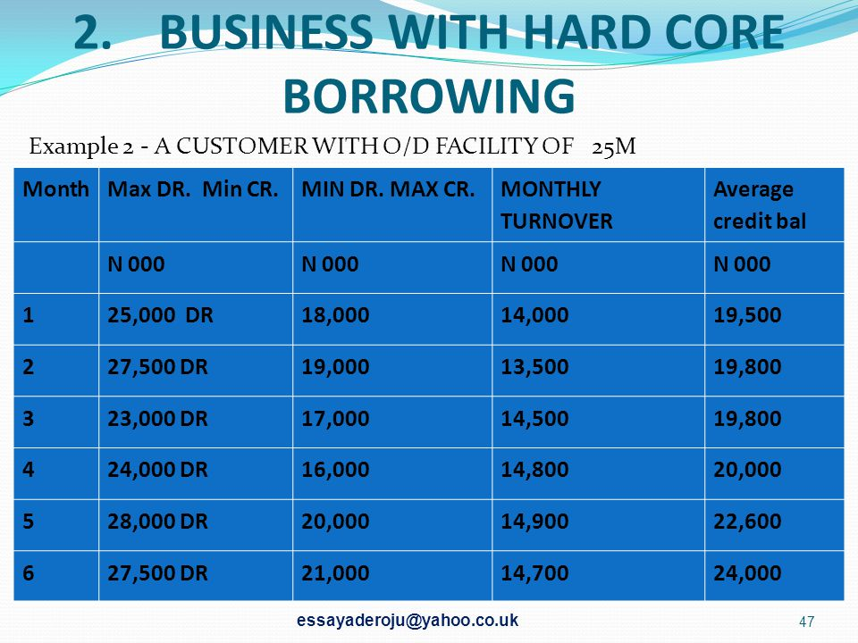 2. BUSINESS WITH HARD CORE BORROWING