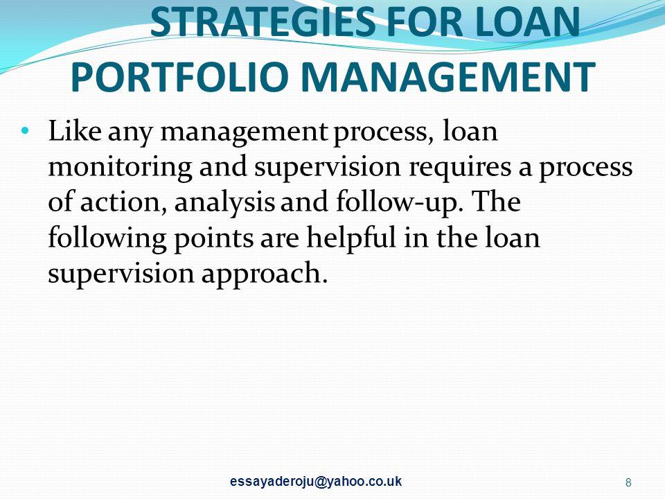 STRATEGIES FOR LOAN PORTFOLIO MANAGEMENT