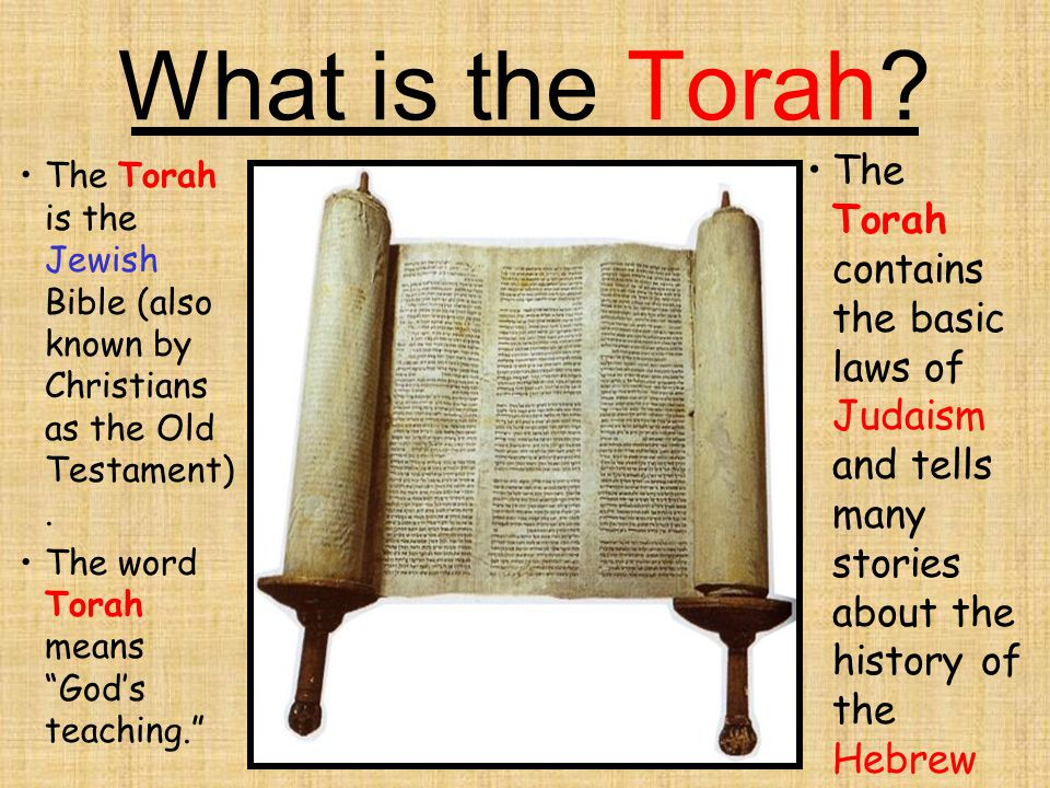 What is the Torah The Torah contains the basic laws of Judaism and tells many stories about the history of the Hebrew people.