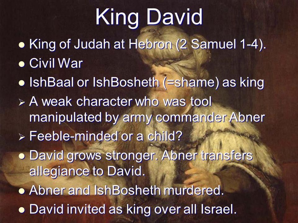 King David King of Judah at Hebron (2 Samuel 1-4). Civil War