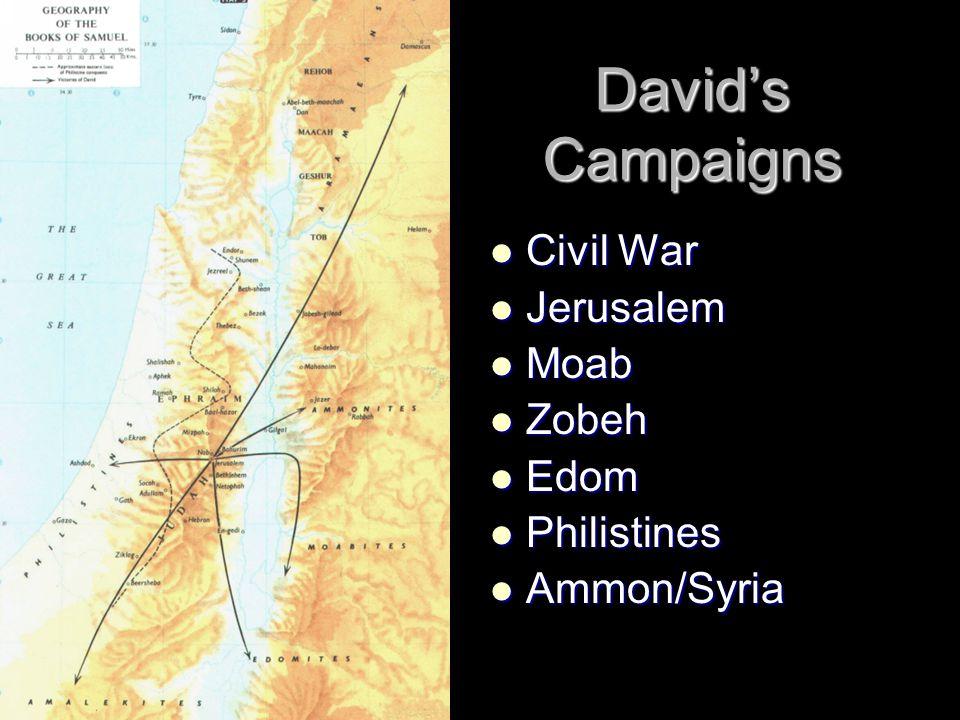 David's Campaigns Civil War Jerusalem Moab Zobeh Edom Philistines