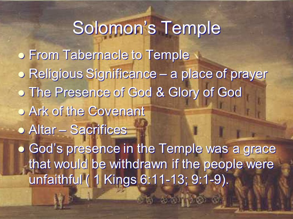 Solomon's Temple From Tabernacle to Temple