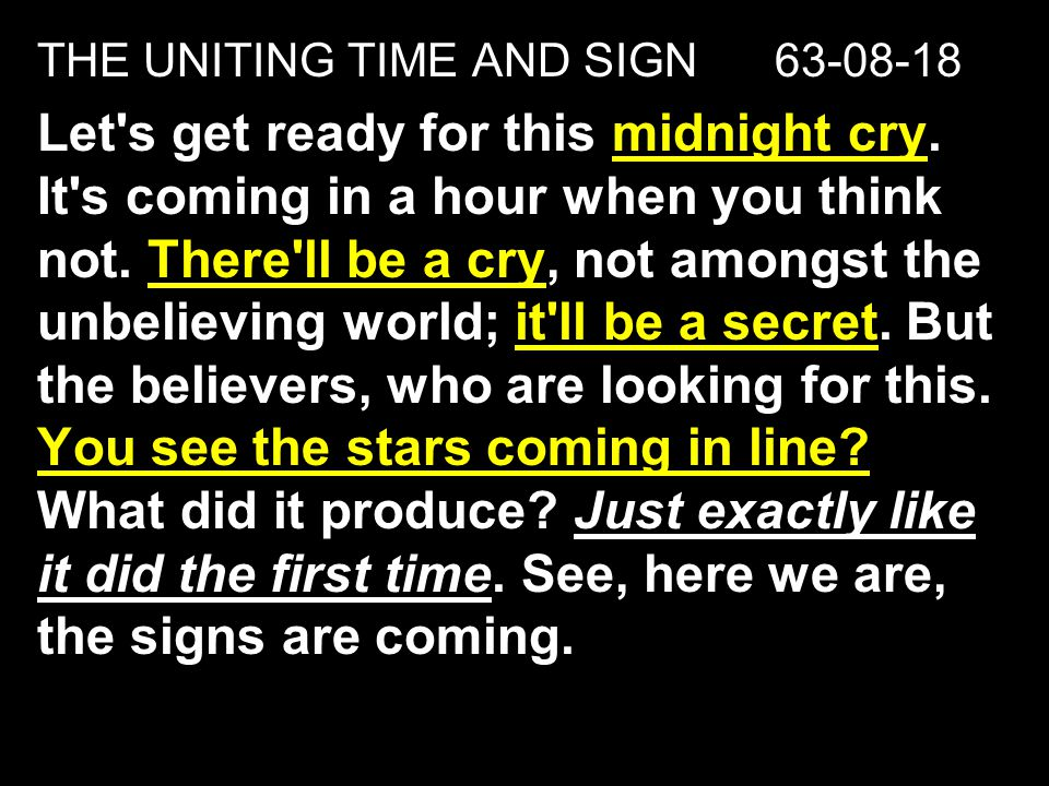 THE UNITING TIME AND SIGN 63-08-18