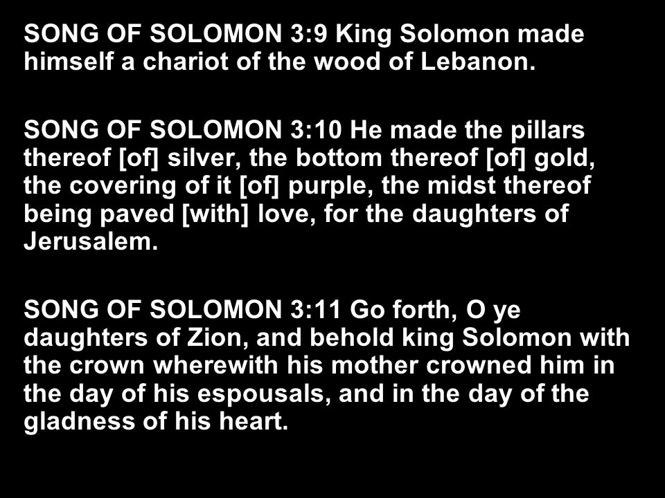 SONG OF SOLOMON 3:9 King Solomon made himself a chariot of the wood of Lebanon.