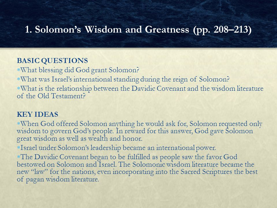 1. Solomon's Wisdom and Greatness (pp. 208–213)