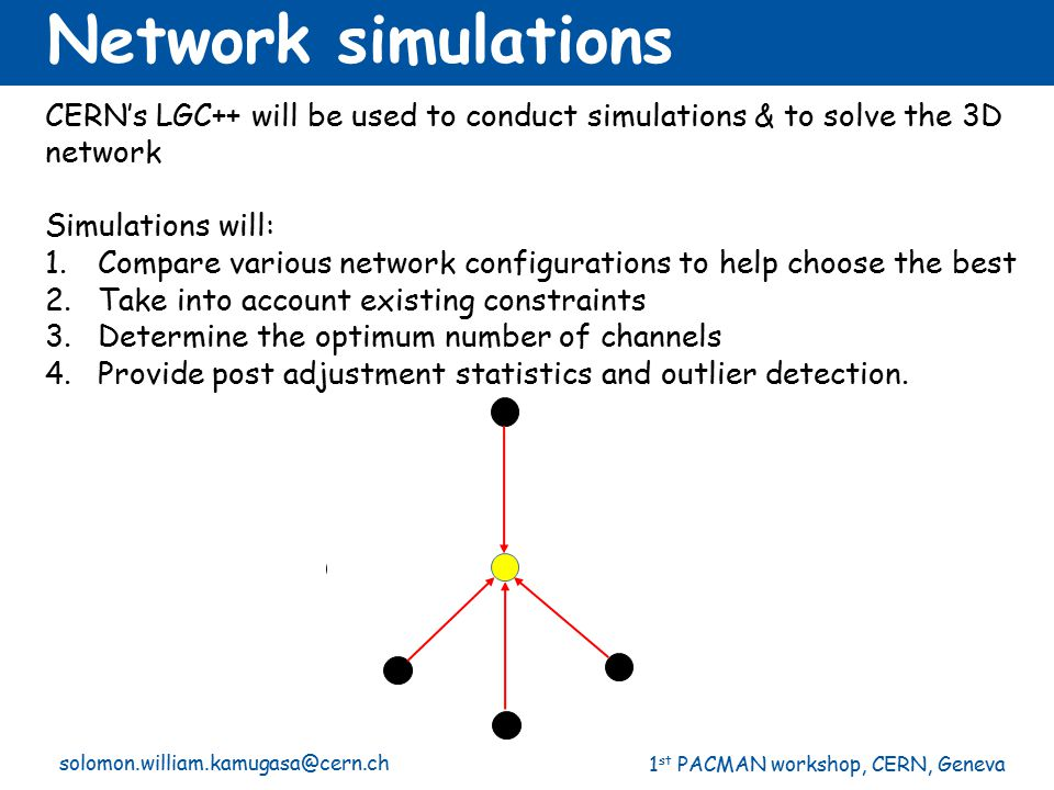 Network simulations CERN's LGC++ will be used to conduct simulations & to solve the 3D network. Simulations will: