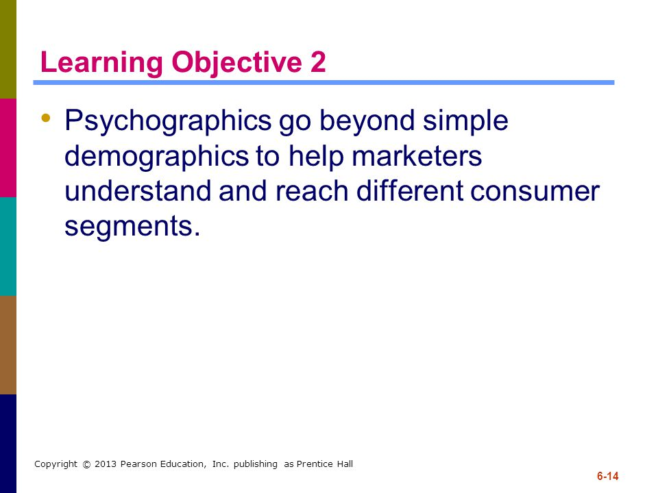 Learning Objective 2 Psychographics go beyond simple demographics to help marketers understand and reach different consumer segments.