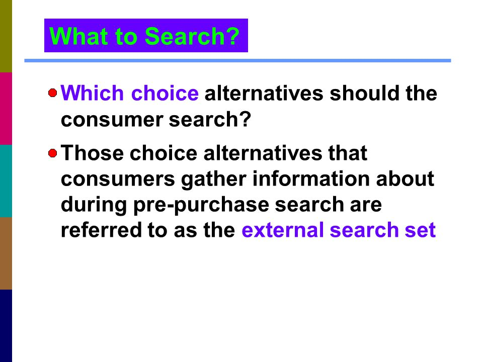 What to Search Which choice alternatives should the consumer search