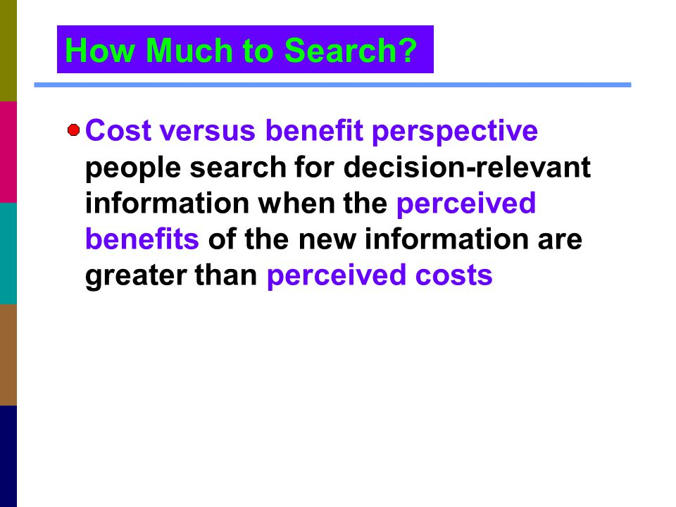 How Much to Search Cost versus benefit perspective: