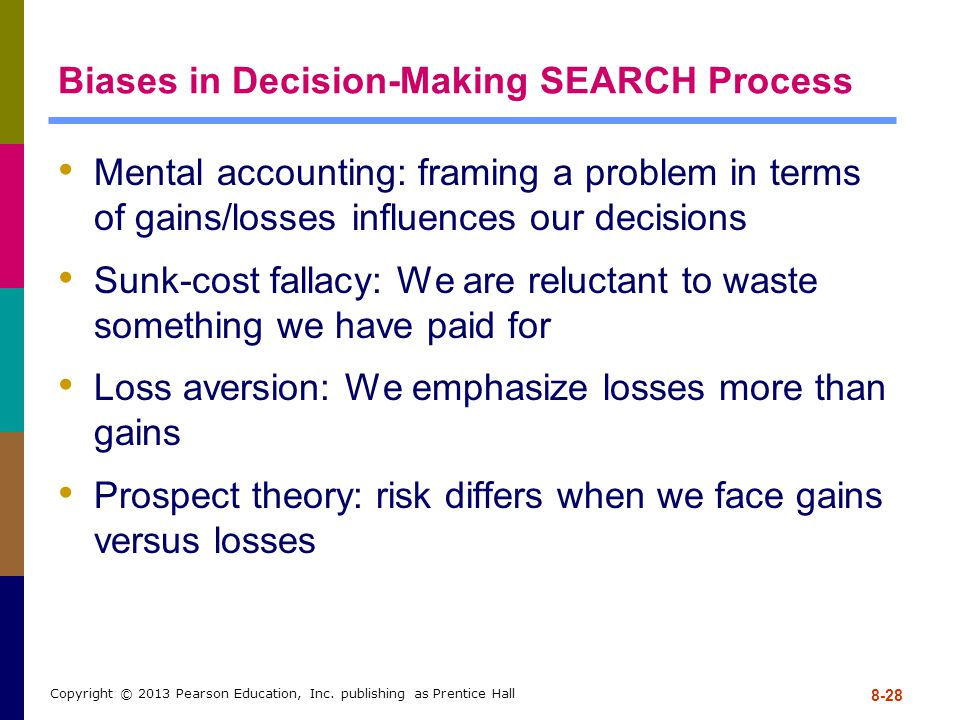 Biases in Decision-Making SEARCH Process