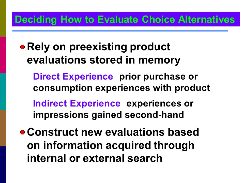 Rely on preexisting product evaluations stored in memory