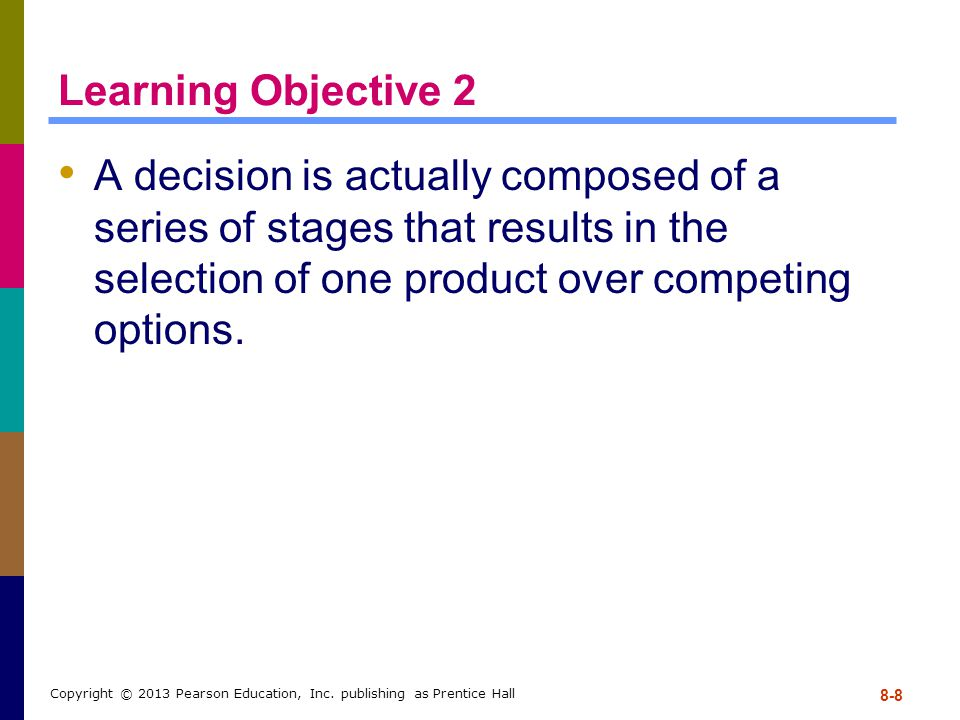 Learning Objective 2 A decision is actually composed of a series of stages that results in the selection of one product over competing options.